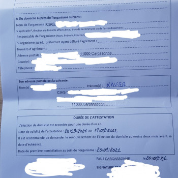 Domiciliation validée auprès du CIAS, enfin une adresse valide en tant que SDF